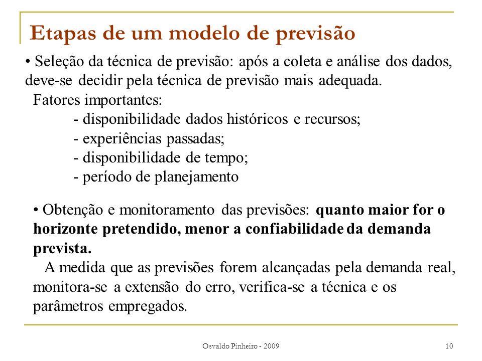 Osvaldo Pinheiro - 2009 10 Etapas de um modelo de previsão Seleção da técnica de previsão: após a coleta e análise dos dados, deve-se decidir pela téc