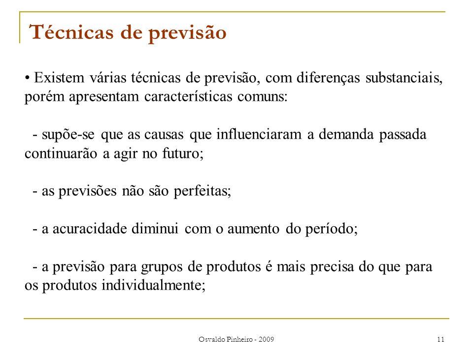 Osvaldo Pinheiro - 2009 11 Técnicas de previsão Existem várias técnicas de previsão, com diferenças substanciais, porém apresentam características com