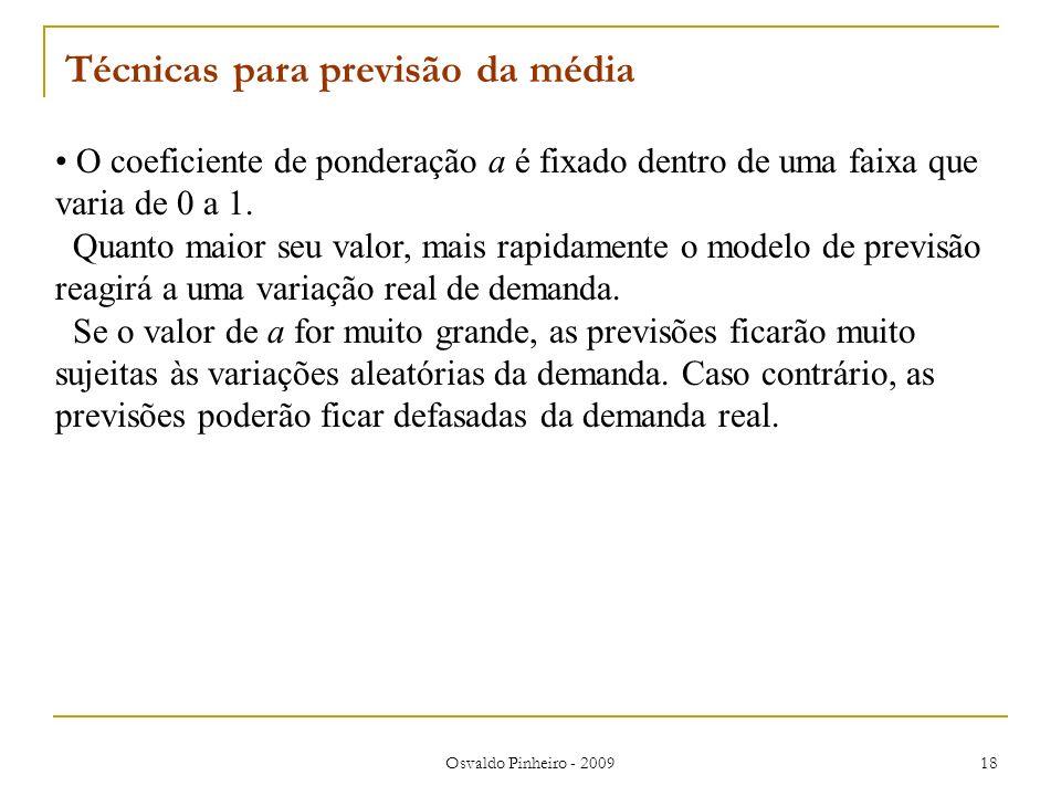 Osvaldo Pinheiro - 2009 18 O coeficiente de ponderação a é fixado dentro de uma faixa que varia de 0 a 1. Quanto maior seu valor, mais rapidamente o m