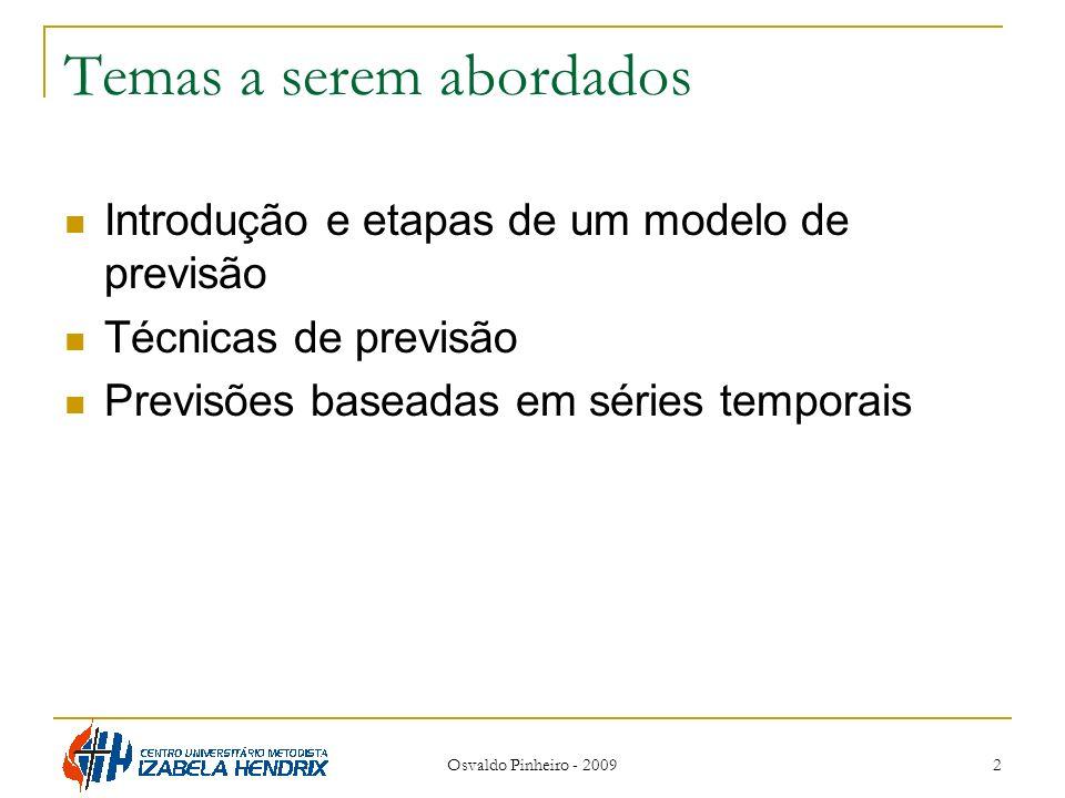 Temas a serem abordados Introdução e etapas de um modelo de previsão Técnicas de previsão Previsões baseadas em séries temporais Osvaldo Pinheiro - 20