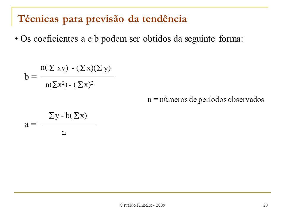 Osvaldo Pinheiro - 2009 20 Técnicas para previsão da tendência Os coeficientes a e b podem ser obtidos da seguinte forma: b = n( xy) - ( x)( y) n( x 2