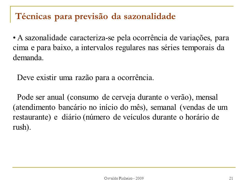 Osvaldo Pinheiro - 2009 21 A sazonalidade caracteriza-se pela ocorrência de variações, para cima e para baixo, a intervalos regulares nas séries tempo