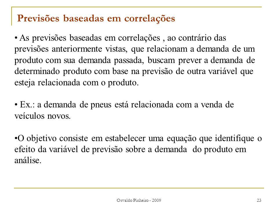 Osvaldo Pinheiro - 2009 23 As previsões baseadas em correlações, ao contrário das previsões anteriormente vistas, que relacionam a demanda de um produ