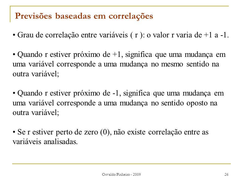 Osvaldo Pinheiro - 2009 26 Grau de correlação entre variáveis ( r ): o valor r varia de +1 a -1. Quando r estiver próximo de +1, significa que uma mud
