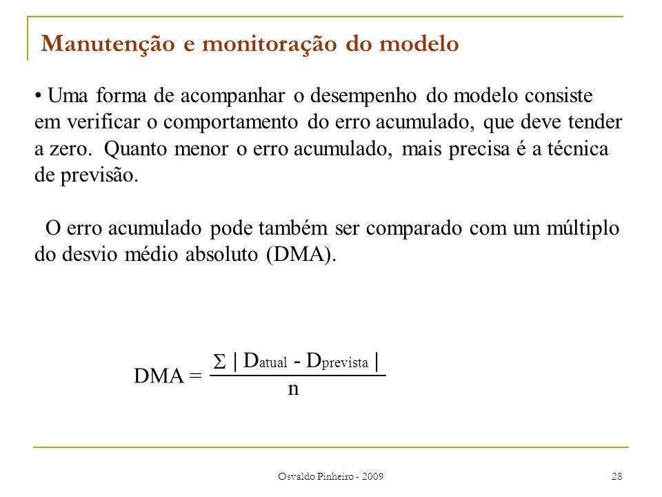 Osvaldo Pinheiro - 2009 28 Uma forma de acompanhar o desempenho do modelo consiste em verificar o comportamento do erro acumulado, que deve tender a z