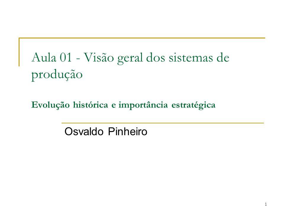 1 Aula 01 - Visão geral dos sistemas de produção Evolução histórica e importância estratégica Osvaldo Pinheiro