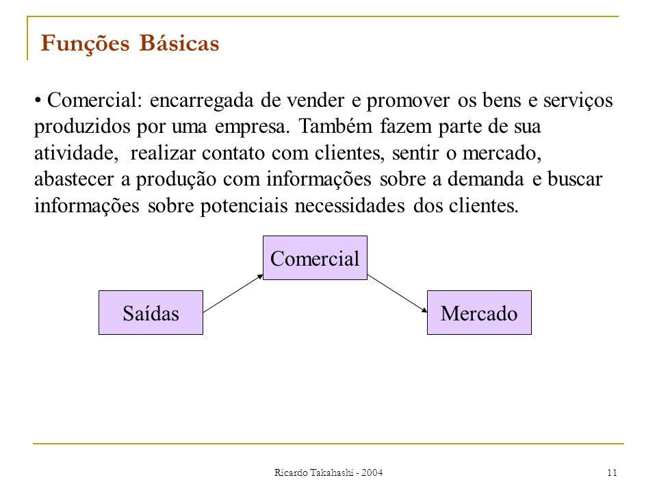 Ricardo Takahashi - 2004 11 Comercial: encarregada de vender e promover os bens e serviços produzidos por uma empresa. Também fazem parte de sua ativi