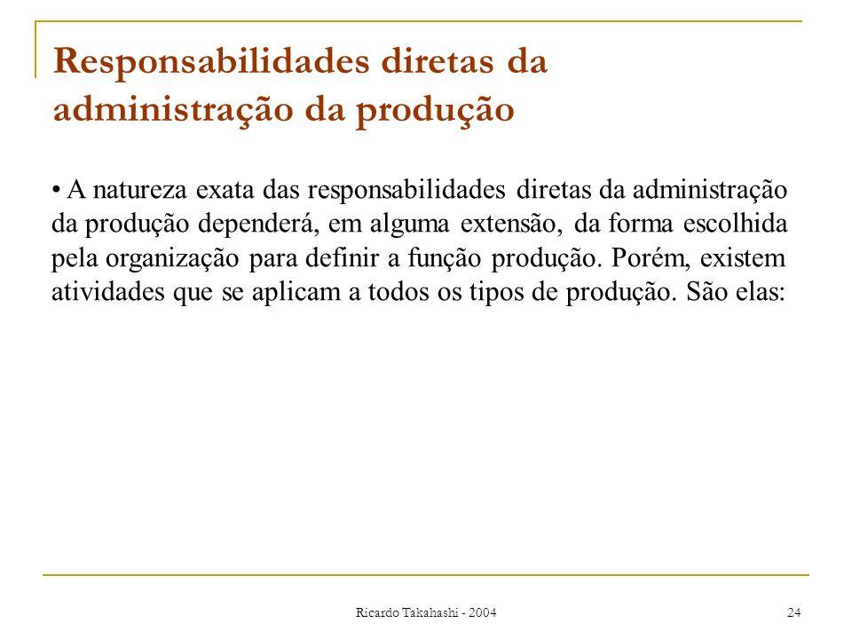 Ricardo Takahashi - 2004 24 Responsabilidades diretas da administração da produção A natureza exata das responsabilidades diretas da administração da