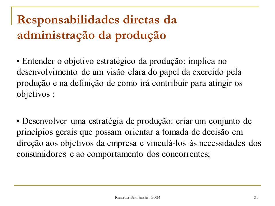 Ricardo Takahashi - 2004 25 Entender o objetivo estratégico da produção: implica no desenvolvimento de um visão clara do papel da exercido pela produç