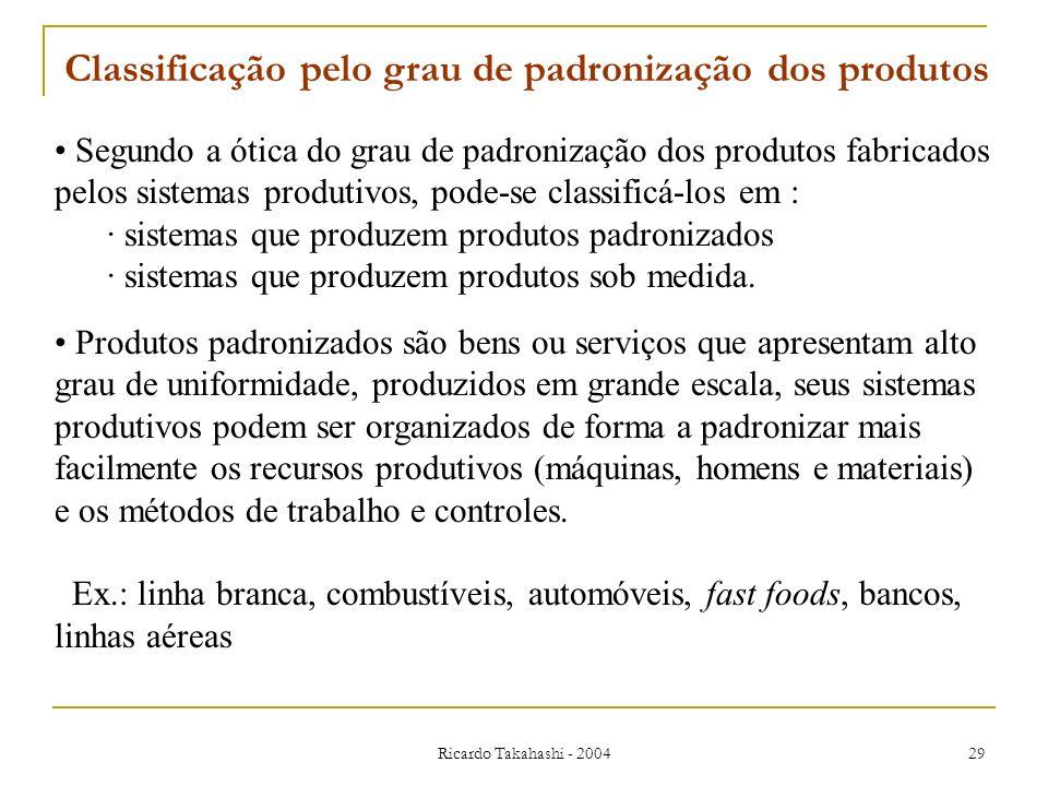 Ricardo Takahashi - 2004 29 Segundo a ótica do grau de padronização dos produtos fabricados pelos sistemas produtivos, pode-se classificá-los em : · s
