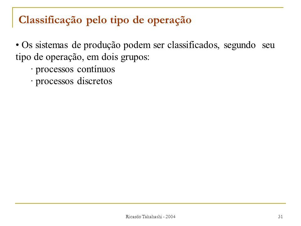 Ricardo Takahashi - 2004 31 Os sistemas de produção podem ser classificados, segundo seu tipo de operação, em dois grupos: · processos contínuos · pro