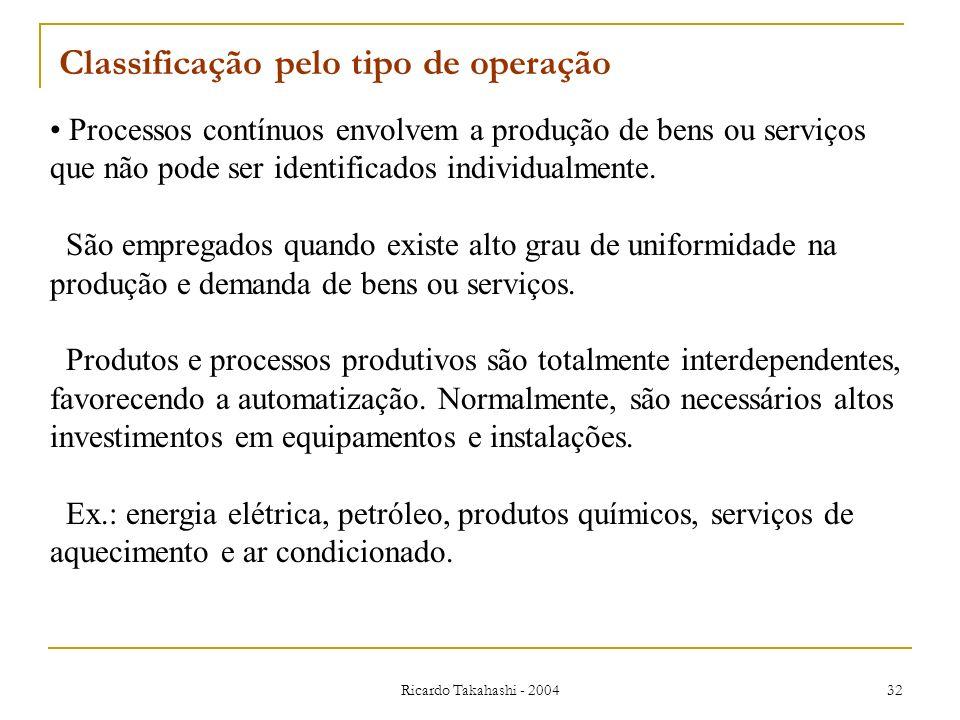 Ricardo Takahashi - 2004 32 Classificação pelo tipo de operação Processos contínuos envolvem a produção de bens ou serviços que não pode ser identific