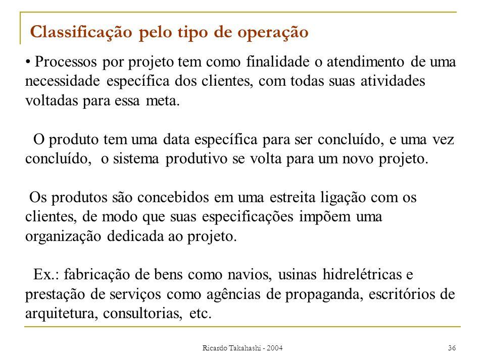 Ricardo Takahashi - 2004 36 Classificação pelo tipo de operação Processos por projeto tem como finalidade o atendimento de uma necessidade específica
