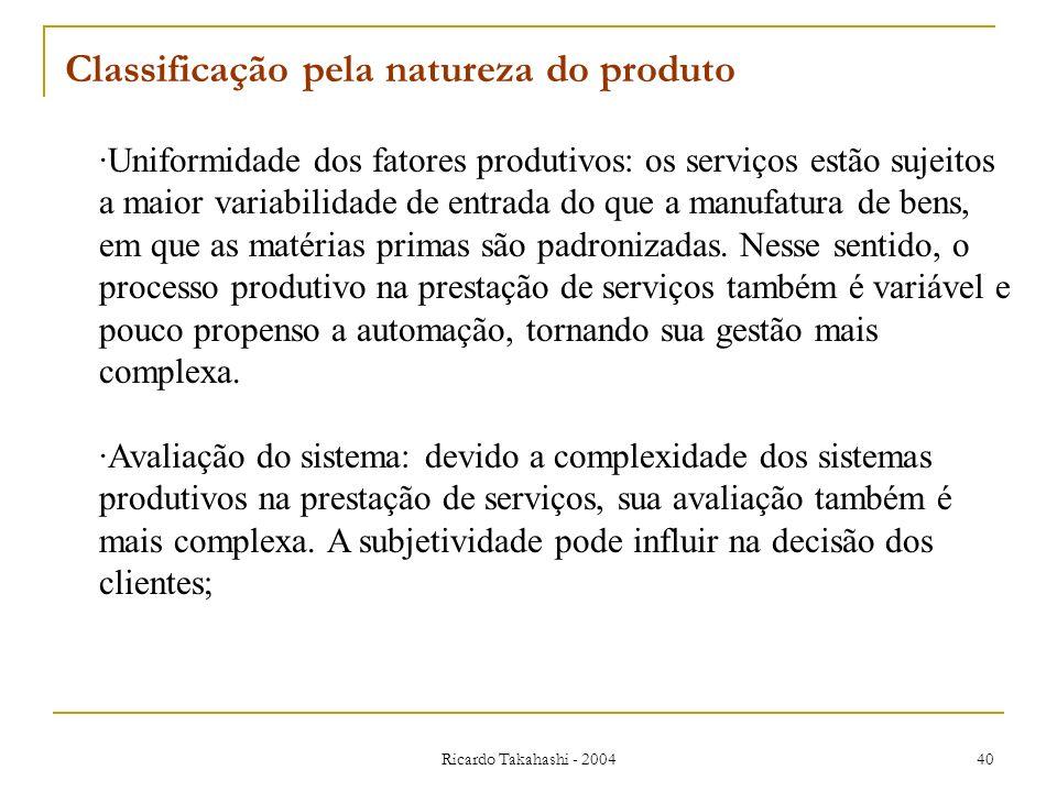 Ricardo Takahashi - 2004 40 Classificação pela natureza do produto ·Uniformidade dos fatores produtivos: os serviços estão sujeitos a maior variabilid