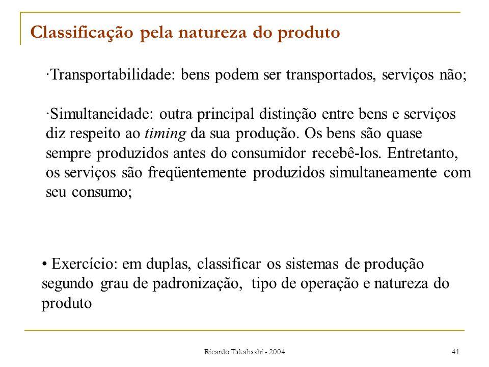 Ricardo Takahashi - 2004 41 Classificação pela natureza do produto ·Transportabilidade: bens podem ser transportados, serviços não; ·Simultaneidade: o