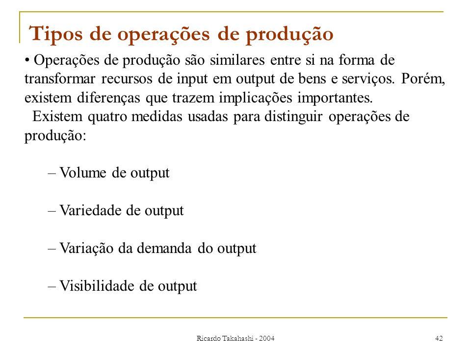 Ricardo Takahashi - 2004 42 Operações de produção são similares entre si na forma de transformar recursos de input em output de bens e serviços. Porém