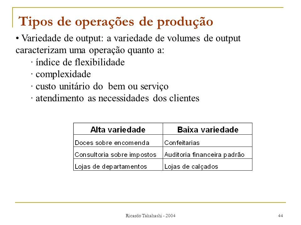 Ricardo Takahashi - 2004 44 Variedade de output: a variedade de volumes de output caracterizam uma operação quanto a: · índice de flexibilidade · comp