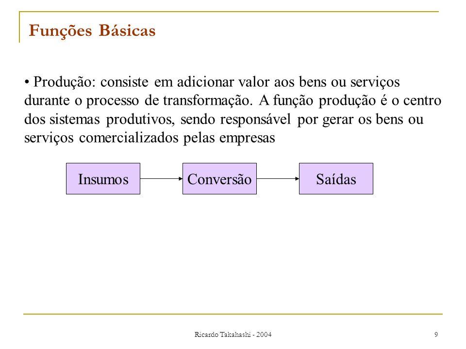 Ricardo Takahashi - 2004 9 Produção: consiste em adicionar valor aos bens ou serviços durante o processo de transformação. A função produção é o centr