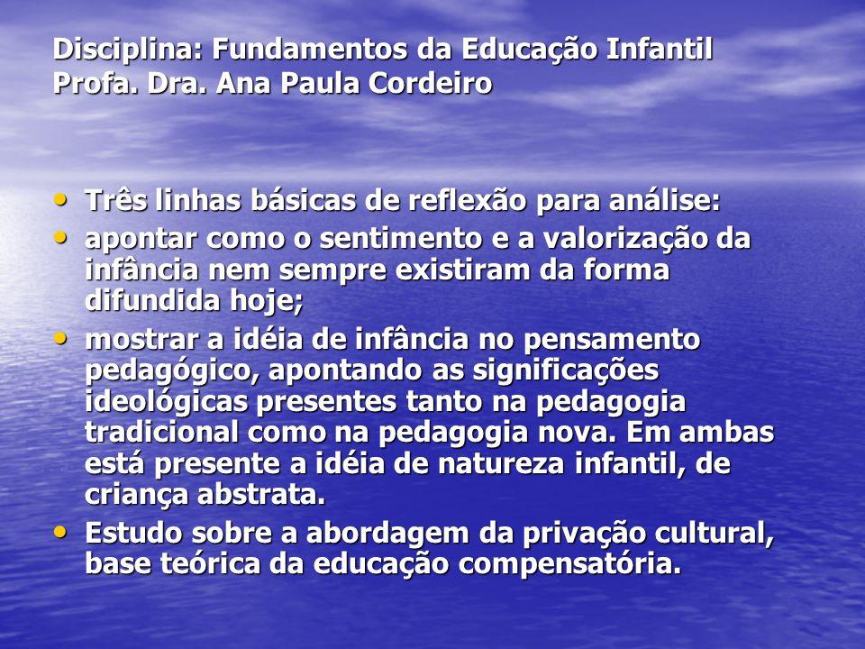 Disciplina: Fundamentos da Educação Infantil Profa. Dra. Ana Paula Cordeiro Três linhas básicas de reflexão para análise: Três linhas básicas de refle
