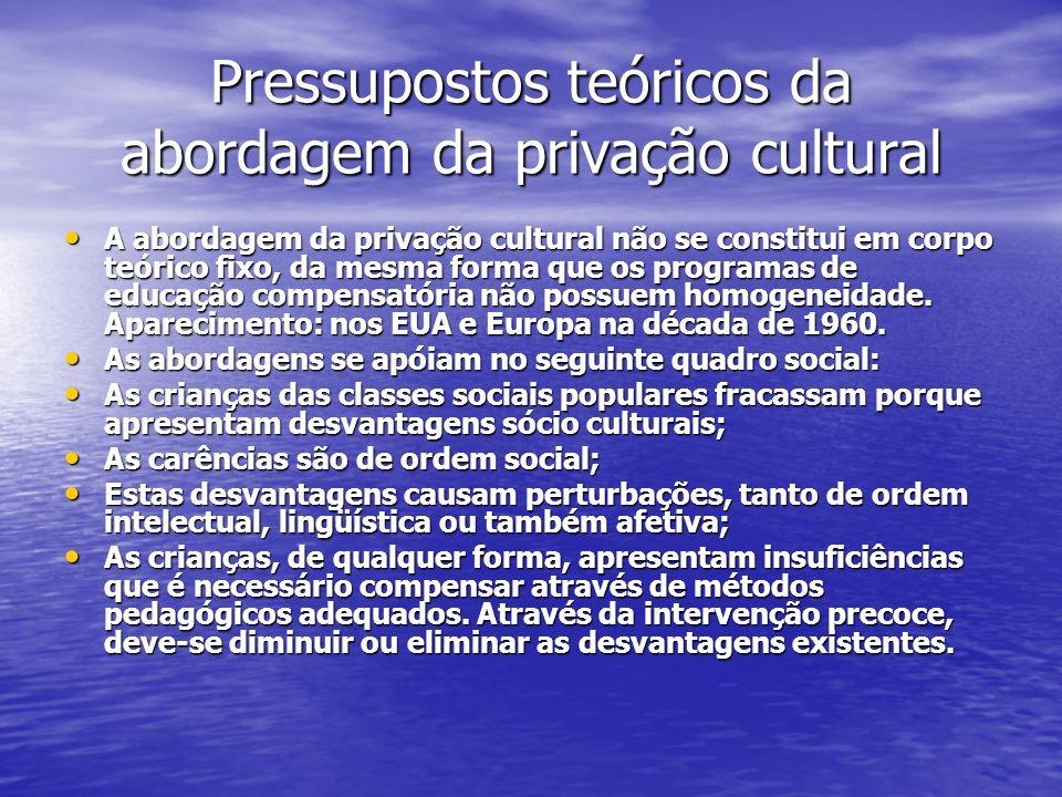 Pressupostos teóricos da abordagem da privação cultural A abordagem da privação cultural não se constitui em corpo teórico fixo, da mesma forma que os