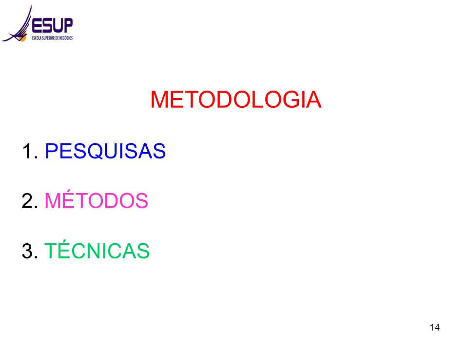 14 METODOLOGIA 1. PESQUISAS 2. MÉTODOS 3. TÉCNICAS