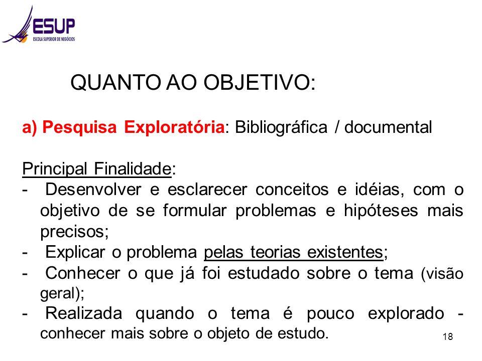 18 QUANTO AO OBJETIVO: a) Pesquisa Exploratória: Bibliográfica / documental Principal Finalidade: - Desenvolver e esclarecer conceitos e idéias, com o