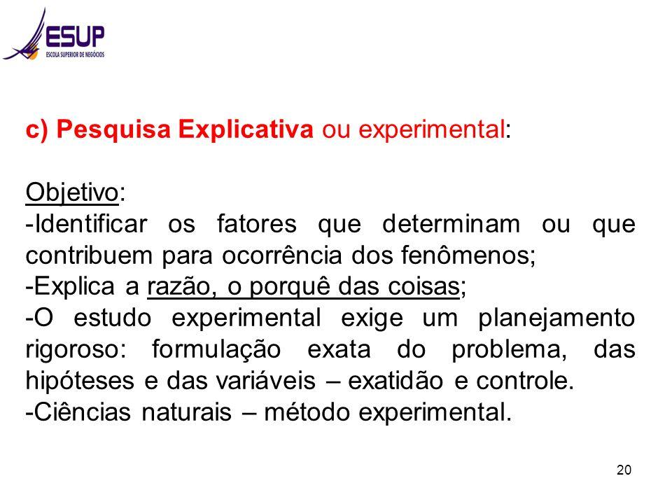 20 c) Pesquisa Explicativa ou experimental: Objetivo: -Identificar os fatores que determinam ou que contribuem para ocorrência dos fenômenos; -Explica