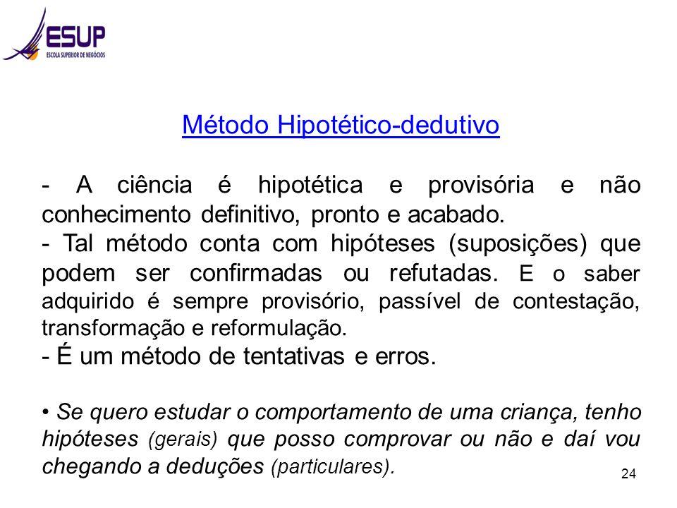 24 Método Hipotético-dedutivo - A ciência é hipotética e provisória e não conhecimento definitivo, pronto e acabado. - Tal método conta com hipóteses