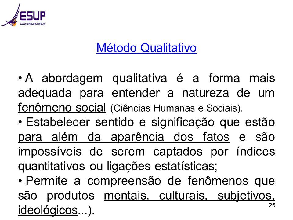 26 Método Qualitativo A abordagem qualitativa é a forma mais adequada para entender a natureza de um fenômeno social (Ciências Humanas e Sociais). Est