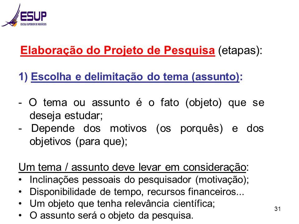 31 Elaboração do Projeto de Pesquisa (etapas): 1) Escolha e delimitação do tema (assunto): - O tema ou assunto é o fato (objeto) que se deseja estudar
