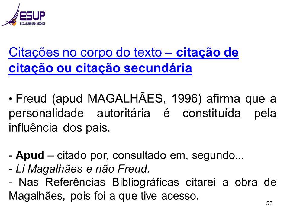 53 Citações no corpo do texto – citação de citação ou citação secundária Freud (apud MAGALHÃES, 1996) afirma que a personalidade autoritária é constit