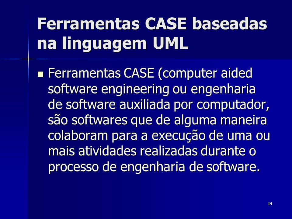 14 Ferramentas CASE baseadas na linguagem UML Ferramentas CASE (computer aided software engineering ou engenharia de software auxiliada por computador