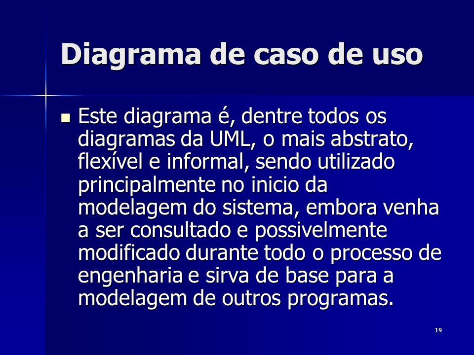 19 Diagrama de caso de uso Este diagrama é, dentre todos os diagramas da UML, o mais abstrato, flexível e informal, sendo utilizado principalmente no