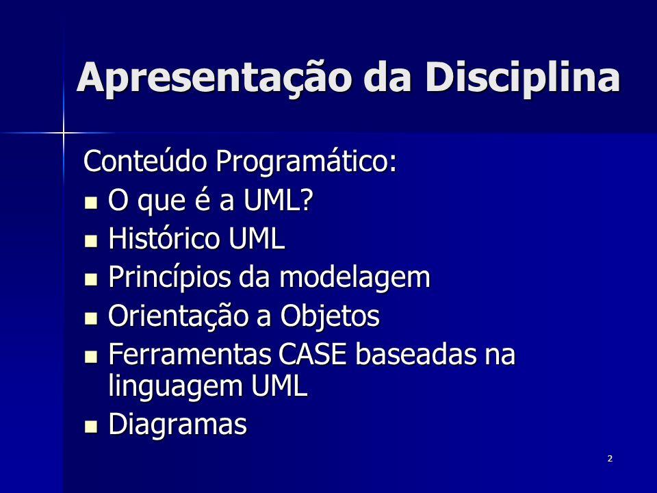 2 Apresentação da Disciplina Conteúdo Programático: O que é a UML? O que é a UML? Histórico UML Histórico UML Princípios da modelagem Princípios da mo