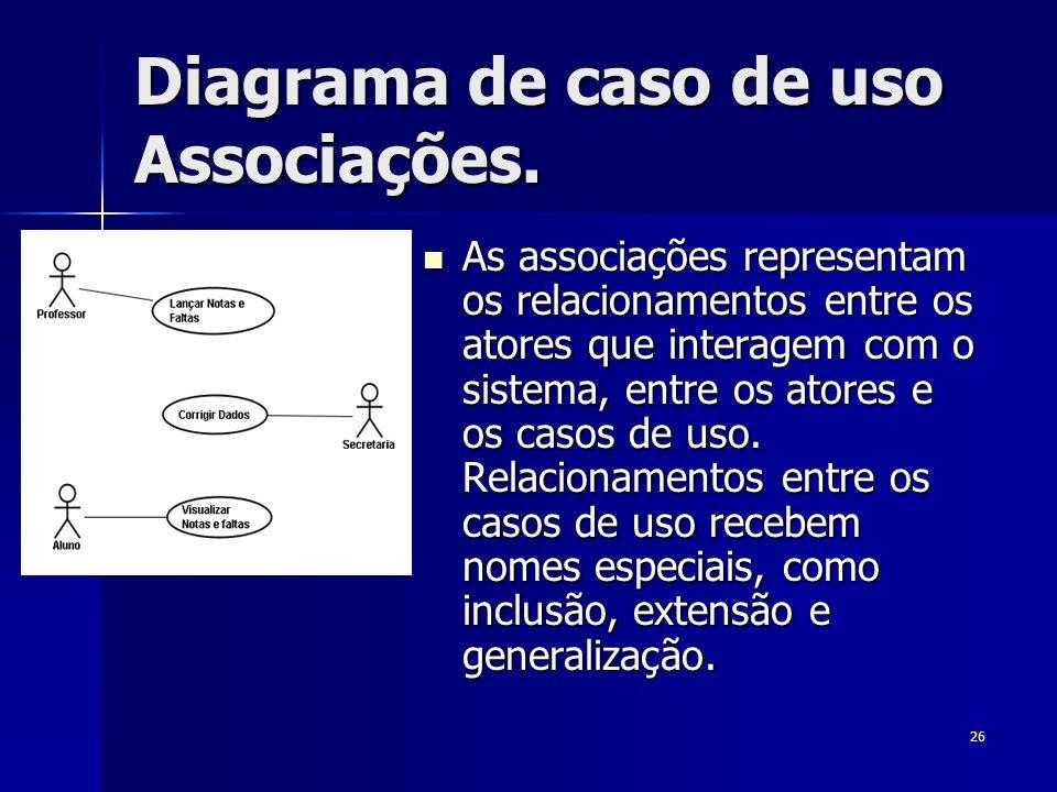 26 Diagrama de caso de uso Associações. As associações representam os relacionamentos entre os atores que interagem com o sistema, entre os atores e o