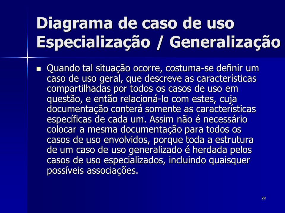 29 Quando tal situação ocorre, costuma-se definir um caso de uso geral, que descreve as características compartilhadas por todos os casos de uso em qu