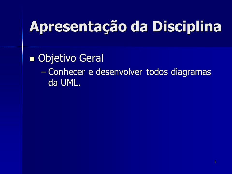 3 Apresentação da Disciplina Objetivo Geral Objetivo Geral –Conhecer e desenvolver todos diagramas da UML.