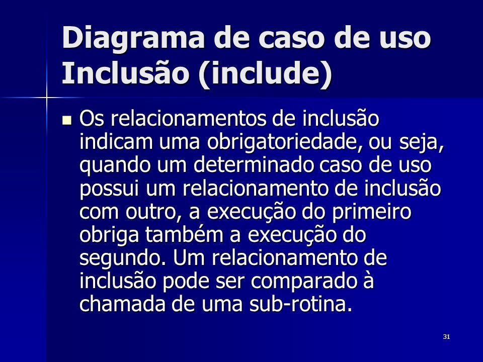 31 Diagrama de caso de uso Inclusão (include) Os relacionamentos de inclusão indicam uma obrigatoriedade, ou seja, quando um determinado caso de uso p