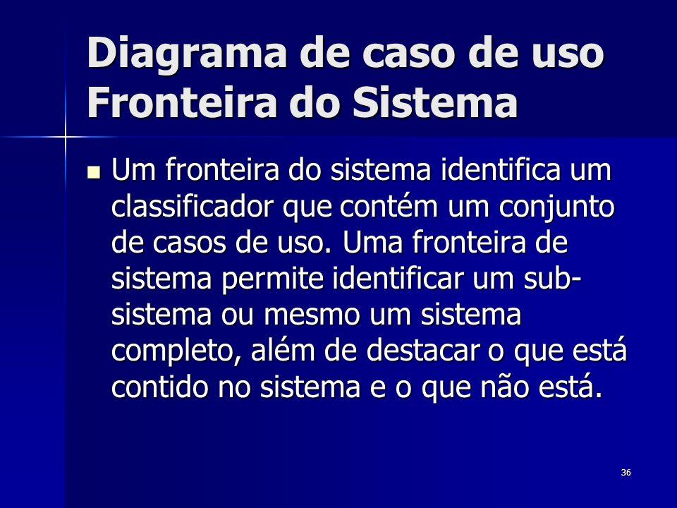 36 Diagrama de caso de uso Fronteira do Sistema Um fronteira do sistema identifica um classificador que contém um conjunto de casos de uso. Uma fronte