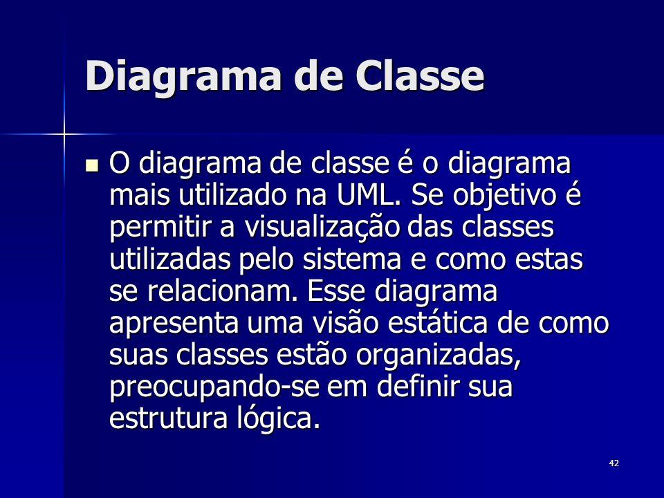 42 Diagrama de Classe O diagrama de classe é o diagrama mais utilizado na UML. Se objetivo é permitir a visualização das classes utilizadas pelo siste