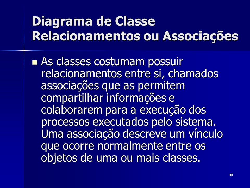 45 Diagrama de Classe Relacionamentos ou Associações As classes costumam possuir relacionamentos entre si, chamados associações que as permitem compar