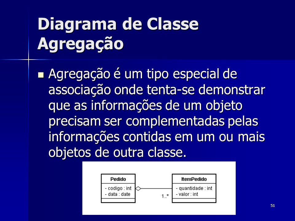51 Diagrama de Classe Agregação Agregação é um tipo especial de associação onde tenta-se demonstrar que as informações de um objeto precisam ser compl