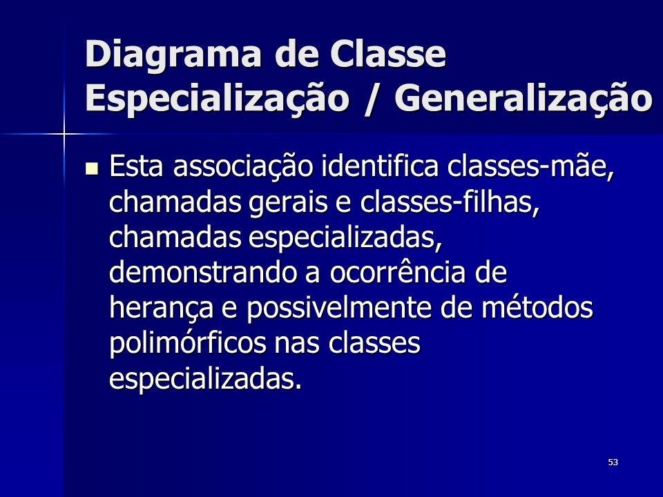 53 Diagrama de Classe Especialização / Generalização Esta associação identifica classes-mãe, chamadas gerais e classes-filhas, chamadas especializadas