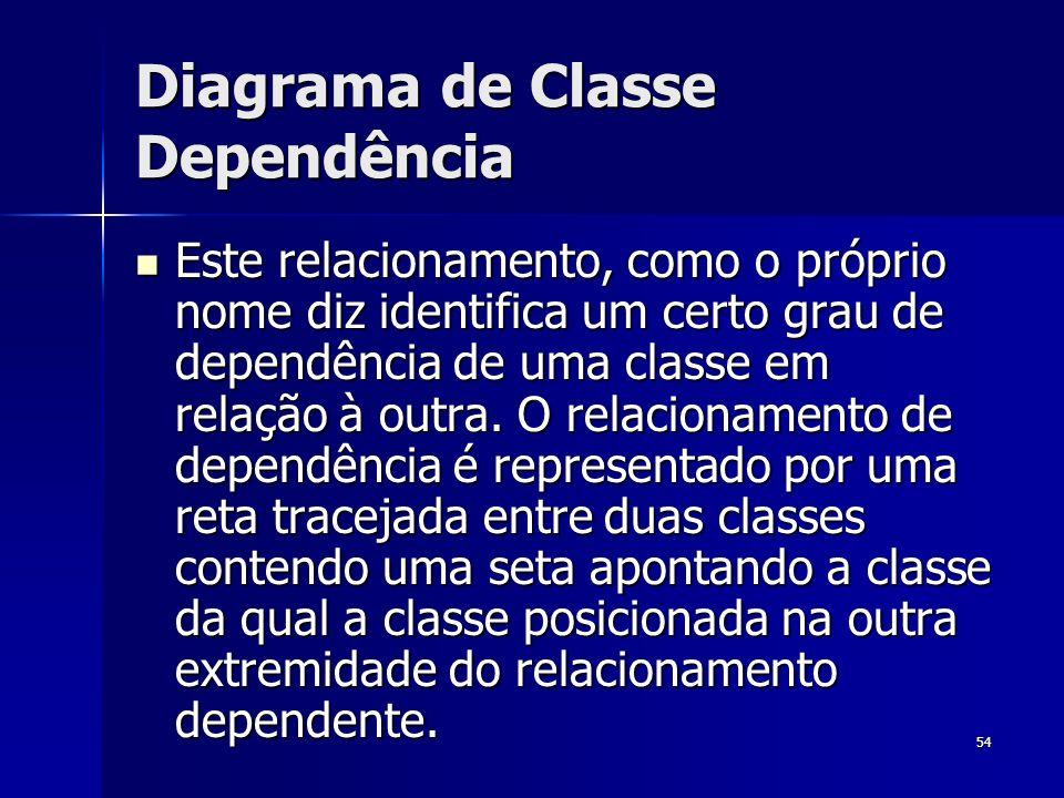 54 Diagrama de Classe Dependência Este relacionamento, como o próprio nome diz identifica um certo grau de dependência de uma classe em relação à outr