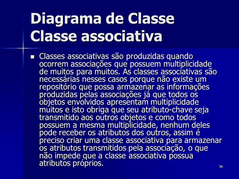 56 Diagrama de Classe Classe associativa Classes associativas são produzidas quando ocorrem associações que possuem multiplicidade de muitos para muit