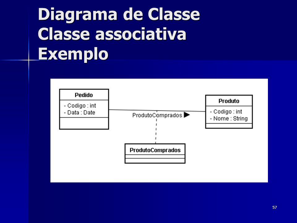 57 Diagrama de Classe Classe associativa Exemplo