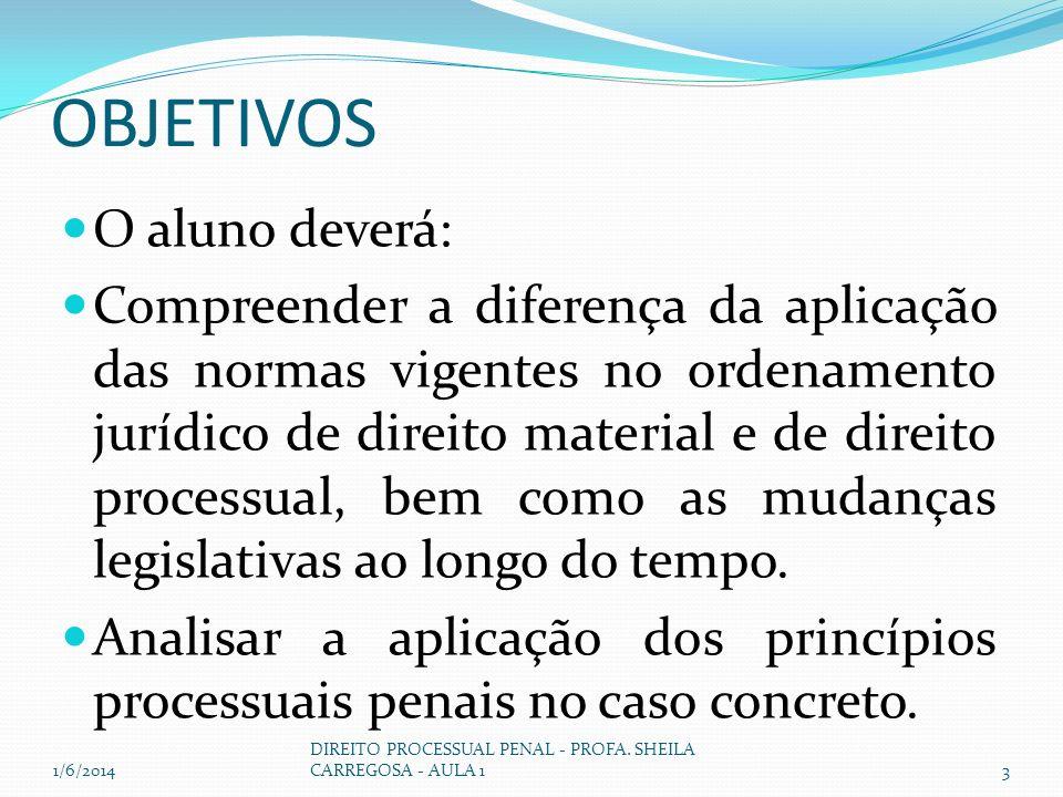 OBJETIVOS O aluno deverá: Compreender a diferença da aplicação das normas vigentes no ordenamento jurídico de direito material e de direito processual