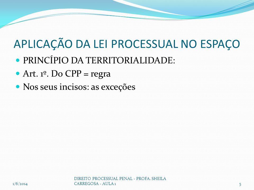 APLICAÇÃO DA LEI PROCESSUAL NO ESPAÇO PRINCÍPIO DA TERRITORIALIDADE: Art. 1º. Do CPP = regra Nos seus incisos: as exceções 1/6/20145 DIREITO PROCESSUA