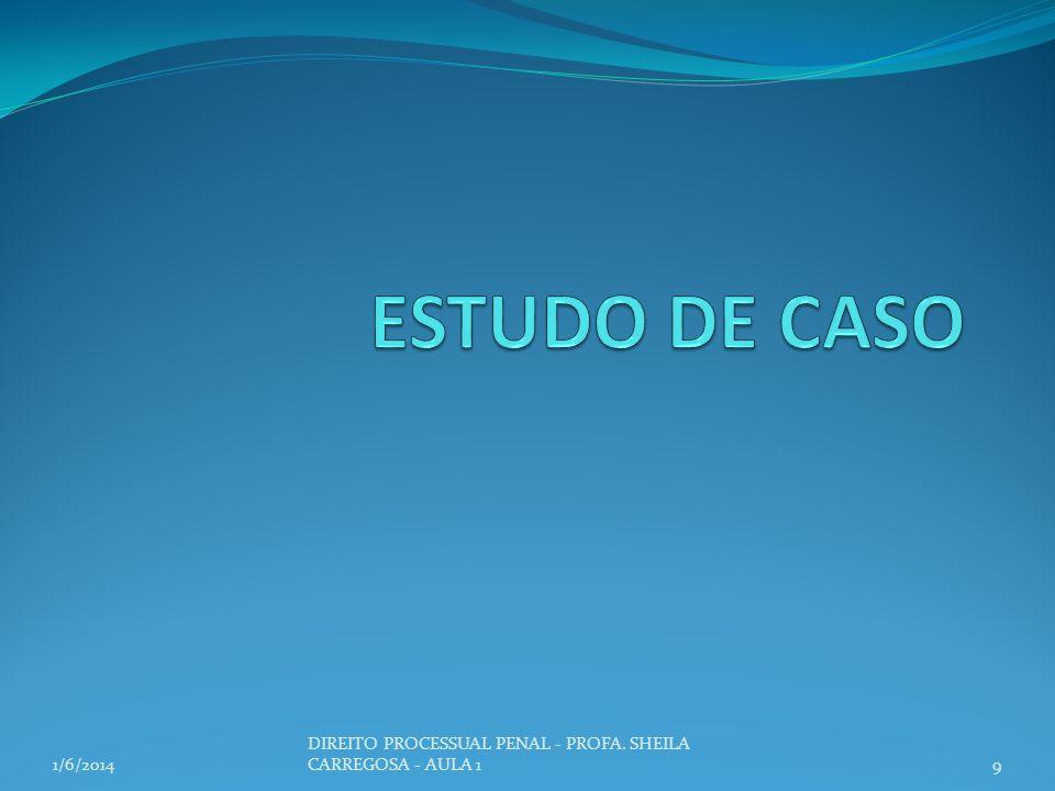 1/6/20149 DIREITO PROCESSUAL PENAL - PROFA. SHEILA CARREGOSA - AULA 1
