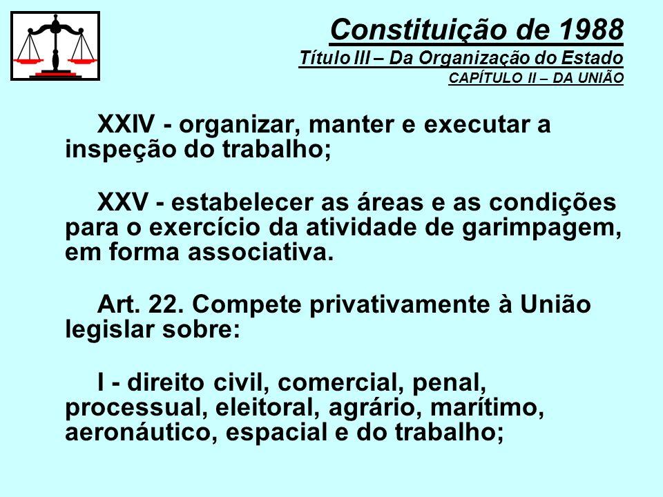 XXIV - organizar, manter e executar a inspeção do trabalho; XXV - estabelecer as áreas e as condições para o exercício da atividade de garimpagem, em